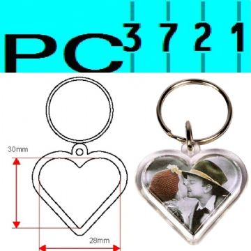 100 Blank Heart Shape Clear Plastic Keyrings 28 mm Max Insert G1512